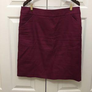 J Crew cranberry pencil skirt 16